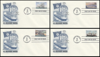 4548 - 4551 / 44c U.S. Merchant Marines Set of 4 Artcraft 2011 FDC