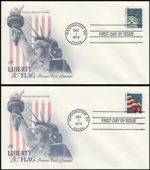 4490 - 4491 / 44c Lady Liberty and Flag (AVR) Set of 2 Artcraft 2010 FDCs