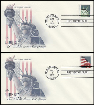 4488 - 4489 / 44c Lady Liberty and Flag (SSP) Set of 2 Artcraft 2010 FDCs