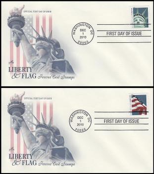 4486 - 4487 / 44c Lady Liberty and Flag (APU) Set of 2 Artcraft 2010 FDCs