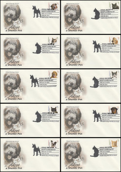 4451 - 4460 / 44c Adopt a Shelter Pet Set of 10 Artcraft 2010 FDCs