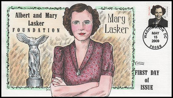 3432B / 78c Mary Lasker : Distinguished Americans Series 2009 Collins Hand-Painted FDC