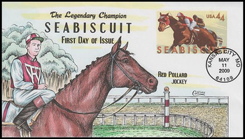 U668 / 44c Seabiscuit 6¾ Postal Stationary Envelope 2009 Collins Hand-Painted FDC