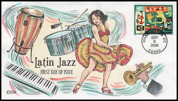 4349 / 42c Latin Jazz 2008 Collins Hand-Painted FDC