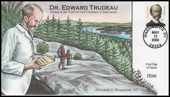 3432a / 76c Edward Trudeau : Distinguished Americans Series 2008 Collins Hand-Painted FDC