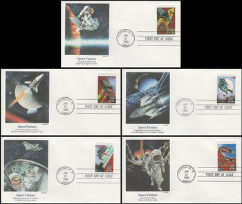 2741 - 2745 / 29c Space Fantasy Set of 5 Fleetwood 1993 FDCs