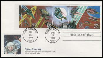 2745a / 29c Space Fantasy Booklet Pane of 5 Fleetwood 1993 FDC