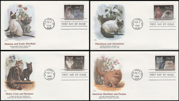 2372 - 2375 / 22c Cat Breeds Set of 4 Fleetwood 1988 First Day Covers