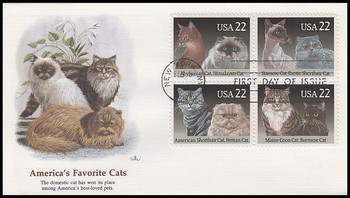 2375a / 22c Cat Breeds Se-Tenant Block Fleetwood 1988 First Day Cover