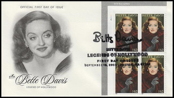 4350 / 42c Bette Davis :  Legends of Hollywood Plate Block 2008 Artcraft FDC