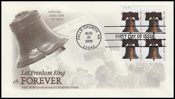 4126b / 41c Non-Denominated Liberty Bell Forever Stamp APU Plate Block 2008 FDC