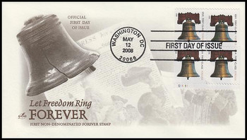 4127d / 41c Non-Denominated Liberty Bell Forever Stamp Plate Block 2008 FDC