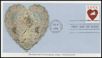 2814 / 29c Dove and Roses : Love Series Booklet Stamp 1994 Mystic FDC