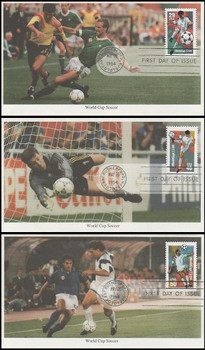 2834 - 2836 /  29c, 40c, 50c World Cup Soccer Championships Set of 3 Mystic 1994 FDCs
