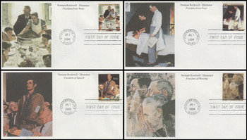 2840a - d / 50c Norman Rockwell Set of 4 Mystic 1994 FDCs