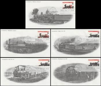 2843 - 2847 / 29c Locomotives Set of 5 Mystic 1994 FDCs