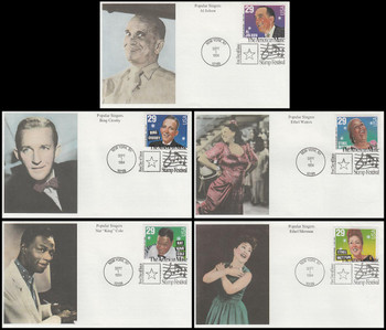 2849 - 2853 / 29c Popular Singers : American Music Series Set of 5 Mystic 1994 FDCs