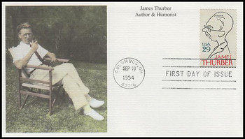 2862 / 29c James Thurber : Literary Arts Series 1994 Mystic FDC