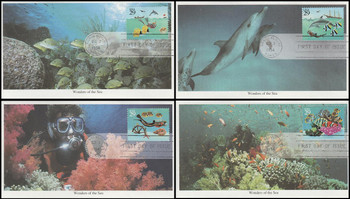 2863 - 2866 / 29c Wonder Of The Sea Set of 4 Mystic 1994 FDCs