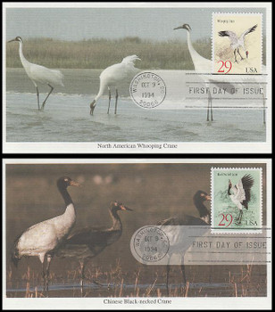 2867 - 2868 / 29c Black-Necked & Whooping Cranes Set of 2 1994 Mystic FDCs