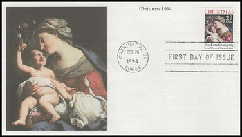 2871 / 29c Madonna and Child Sheet Issue : Christmas Series  1994 Mystic FDC