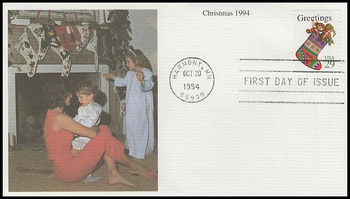 2872 / 29c Stocking Sheet Issue : Christmas Series 1994 Mystic FDC