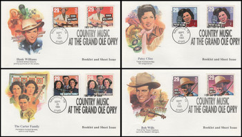2771 - 2778 / 29c Legends of Country and Western Music Sheet & Booklet Set of 4 Fleetwood 1993 FDCs
