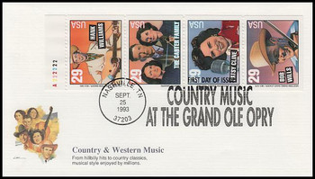 2778a / 29c Legends of Country and Western Music Booklet Pane Fleetwood 1993 FDC