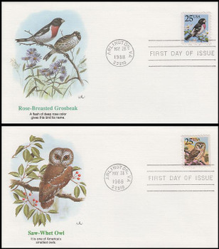 2284 - 2285 / 25c Grosbeak and Owl Set of 2 Fleetwood 1988 FDCs