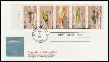 2549a / 25c Fishing Flies Booklet Pane Fleetwood 1991 First Day Covers
