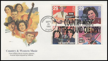 2774a / 29c Legends of Country and Western Music Se-Tenant Block Fleetwood 1993 FDC