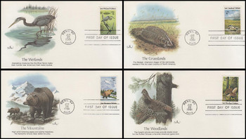 1921 - 1924 / 18c Preservation of Wildlife Habitat Set of 4 Fleetwood 1981 FDCs