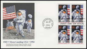 2841a / 29c First Moon Landing 25th Anniversary Block 1994 Fleetwood FDC