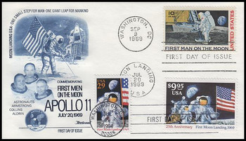 C76, 2841a & 2842 / 10c - $9.95 Moon Landing Combo With Dual Postmarks Fleetwood First Day Cover