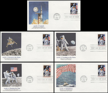 2841a / 29c First Moon Landing 25th Anniversary Set Of 5 Fleetwood 1994 FDC