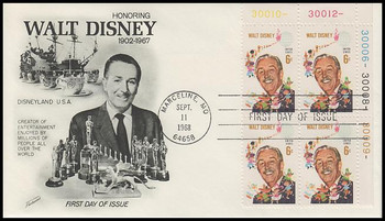 1355 / 6c Walt Disney Plate Block Fleetwood 1968 First Day Cover