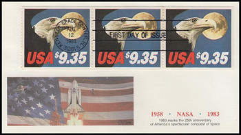 1909 / $9.35 Eagle and Full Moon Express Mail Strip of 3 Fleetwood 1983 FDC ( Light Toning Throughout )