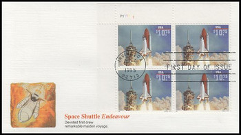 2544A / $10.75 Endeavour Shuttle Taking Off Express Mail Plate Block Upper Left 1995 Fleetwood FDC