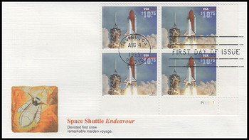 2544A / $10.75 Endeavour Shuttle Taking Off Express Mail Plate Block Lower Right 1995 Fleetwood FDC