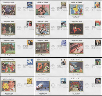 3189a-o / 33c Celebrate The Century ( CTC ) 1970s with Info Cards Set of 15 Colorano Silk First Day Covers