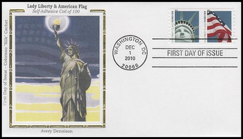 4491a / 44c Lady Liberty and Flag Coil Pair AVR Colorano Silk 2010 FDC