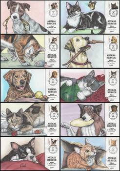 4451 - 4460 / 44c Adopt a Shelter Pet Set of 10 Collins Hand-Painted 2010 FDCs