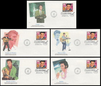 2731 / 29c Elvis Presley : Legend of American Music Booklet Single Set of 5 Different Fleetwood 1993 FDCs