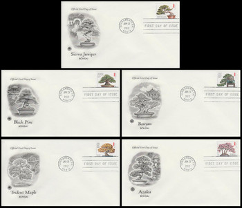 4618 - 4622 / 45c Bonsai Set of 5 PCS 2012 FDCs