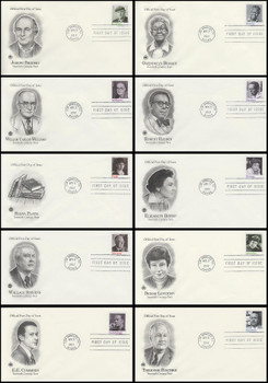4654 - 4663 / 45c Twentieth Century Poets Set of 10 PCS 2012 FDCs