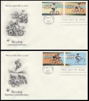 4687 - 4690 / 45c Bicycling All 4 Stamps On 2 PCS 2012 FDCs