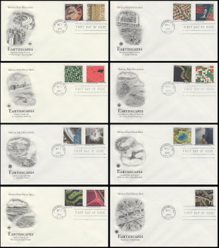 4710 a- o / 45c Earthscapes All 15 On 8 PCS 2012 First Day Covers