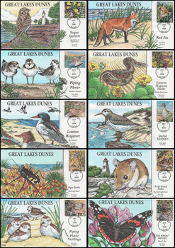 4352a - j / 42c Great Lakes Dunes Set of 10 Collins Hand-Painted 2008 FDCs