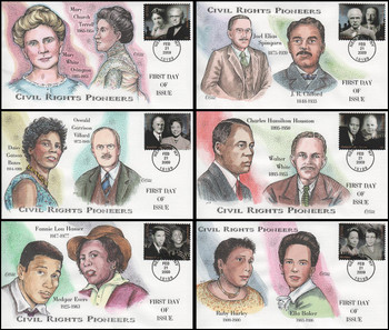 4384a - f  / 42c Civil Rights Pioneers Set of 6 Collins Hand-Painted 2009 FDCs