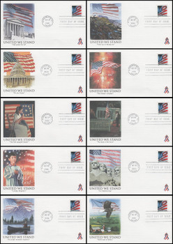 3550 / 34c United We Stand / US Flag Coil Set of 10 Fleetwood 2001 FDCs